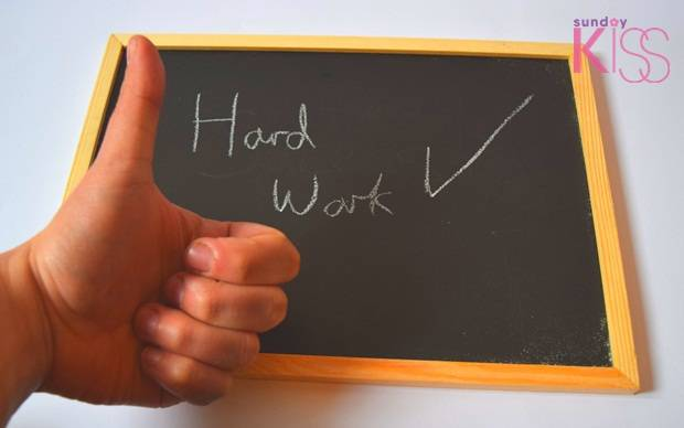 hand work thumbs up blackboard sign