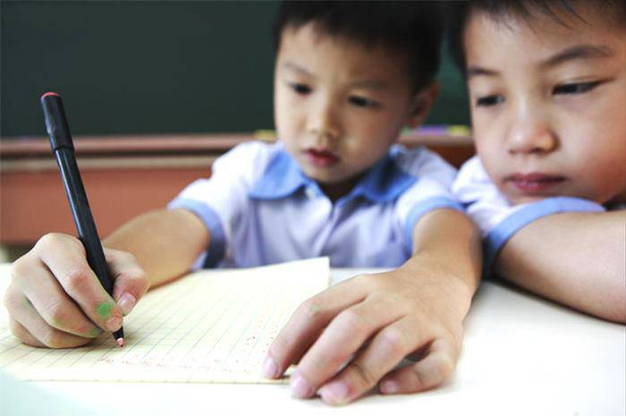 Two Elementary Students Studying in Class