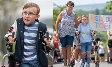 奇蹟完成馬拉松  9歲腦癱童花70天長征42公里籌48萬 捐贈醫院及學校