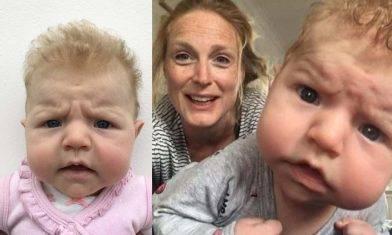 疫情下媽媽親自拍證件相 3個月大BB天生愛皺眉笑翻網民
