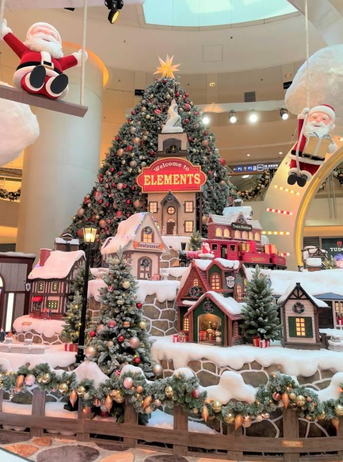 圓方ELEMENTS 飄雪白色聖誕村莊