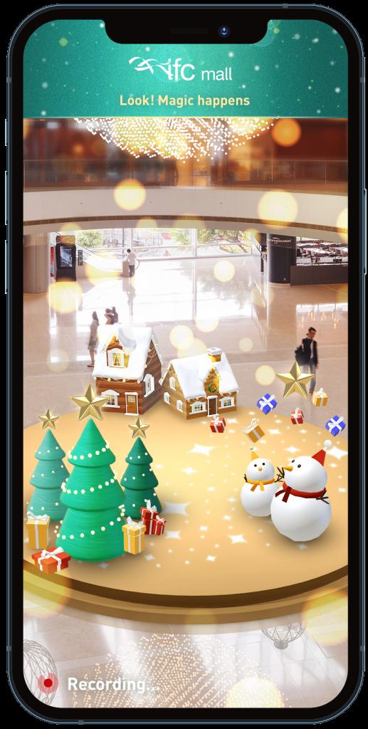 同時更設有 AR 擴增實境「聖誕小鎮」,大家可在相片或影片中加上聖誕樹、薑餅屋及雪人等圖案