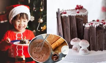聖誕蛋糕食譜-伯爵茶朱古力樹頭蛋糕Yule Log Cake