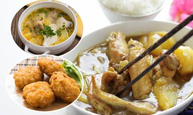 4款家常菜三餸一湯做法簡單-薯仔炆雞翼+粟米蝦餅+四色粒粒+蕃茄魚湯
