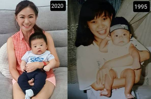 美魔女抱著24歲大仔與新抱誕下的兒子時,反而更像孫仔的媽媽
