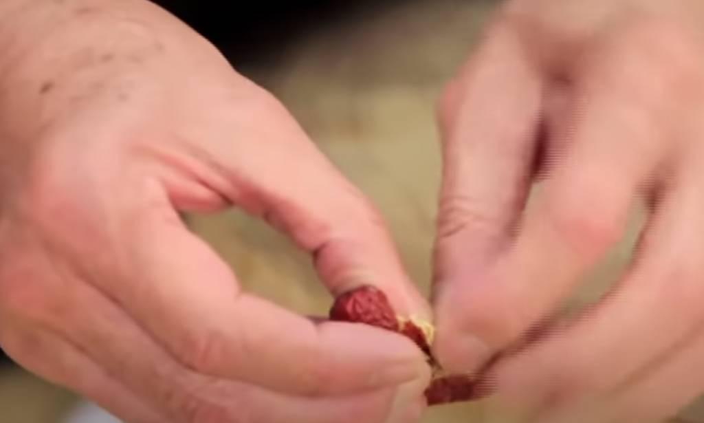紅棗去核。