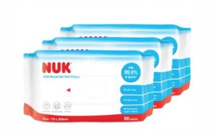 NUK無酒精殺菌濕紙巾(80片裝x3)