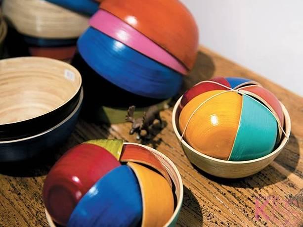 竹製七彩碗(圖片來源:新傳媒資料室)
