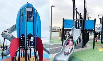 飛機火箭兒童免費遊樂場 親子鞦韆+3米高火箭滑梯|親子好去處