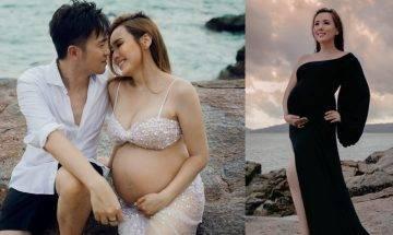楊洛婷海邊拍大肚寫真 留倩影紀念與老公相愛15年