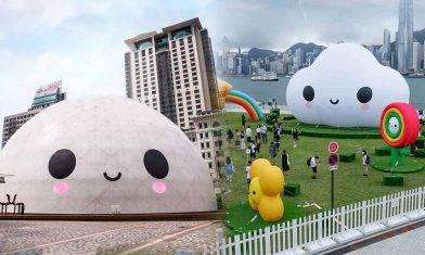 太空館「微笑菠蘿包」+西九文化區3層樓高發光雲朵 12個大型充氣裝置 免費打卡