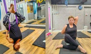 67歲肥媽凌空倒吊做瑜伽   曾患大腸癌突破自己:我都做到你都做到
